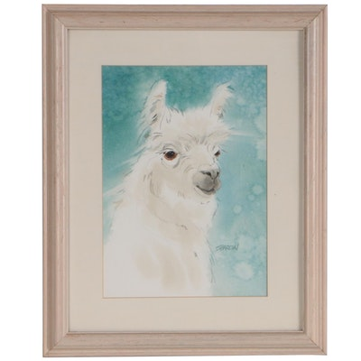 Sharon Watercolor Painting of Llama