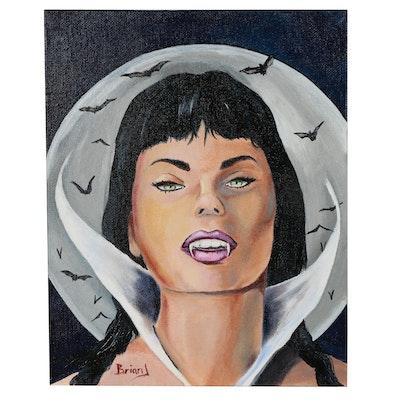"Brian Johnpeer Acrylic Portrait ""Vampirella"""