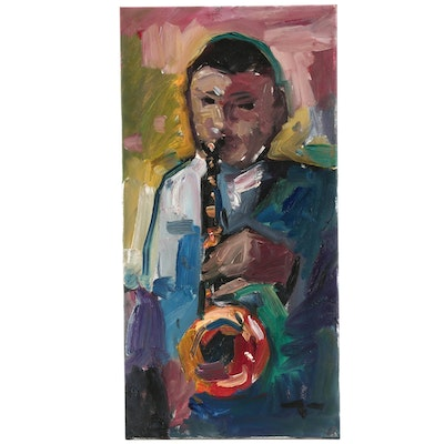 "Jose Trujillo Oil Painting ""The Saxophone Player"""