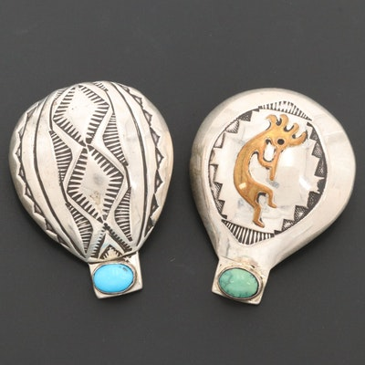Geneva Ramone Navajo Diné Sterling Silver Turquoise Brooches