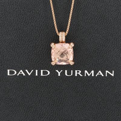 David Yurman 18K Rose Gold Morganite and Diamond Chatelaine Pendant Necklace