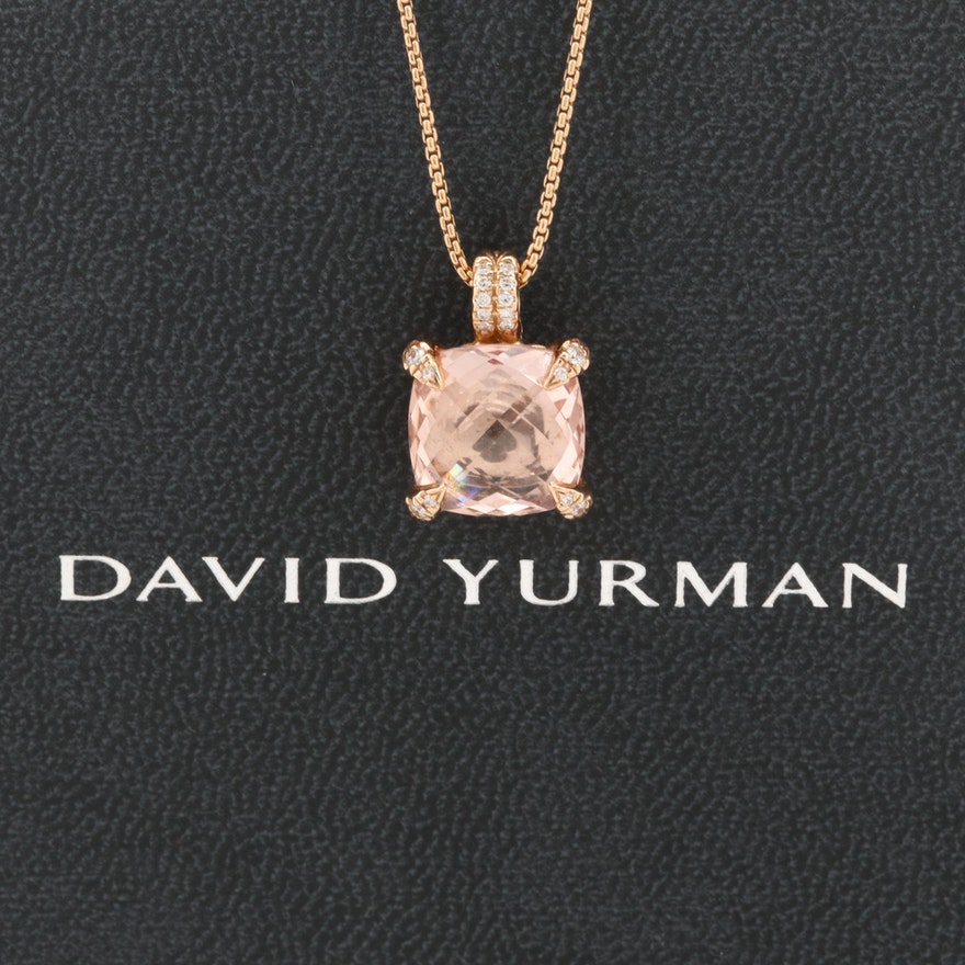 David Yurman 18K Rose Gold Morganite and Diamond Chatelaine Pendant Necklace