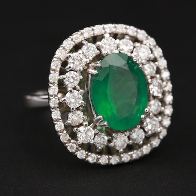 14K White Gold 2.07 CT Emerald and 1.14 CTW Diamond Ring