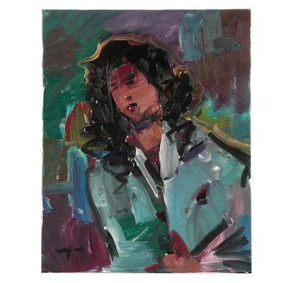 "Jose Trujillo Oil Painting ""The 80s Singer"""
