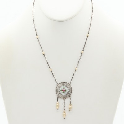 Circa 1950 Sterling Silver Enamel and Pearl, Filigree Pendant Necklace