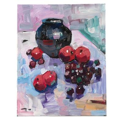 "Jose Trujillo Oil Painting ""Fruit Still Life"""