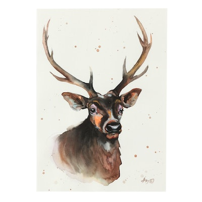 Angor Deer Watercolor Painting
