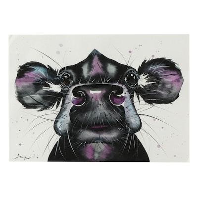 Angor Cow Portrait Watercolor Painting