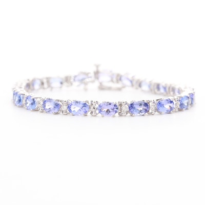 14K White Gold Tanzanite and Diamond Tennis Bracelet