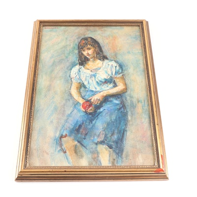 Thomas J. Strickland Figure of a Girl Oil Painting