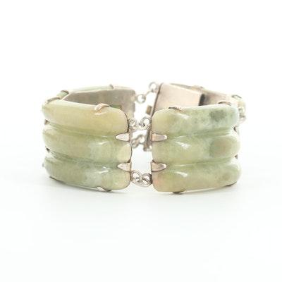 Mexican Sterling Silver Bowenite Bracelet