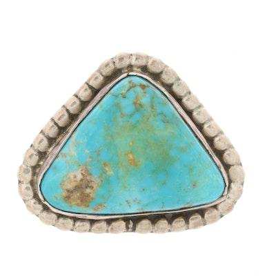 Vintage Southwestern Style Sterling Silver Turquoise Converter Brooch