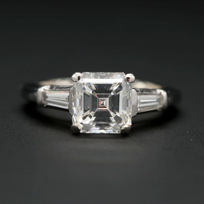 Platinum 2.35 CTW Diamond Ring with GIA Report