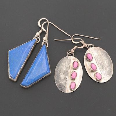 Southwestern Style Sterling Silver Lapis Lazuli and Quartz Drop Earrings