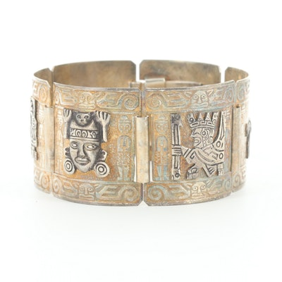Peruvian Sterling Silver Panel Bracelet