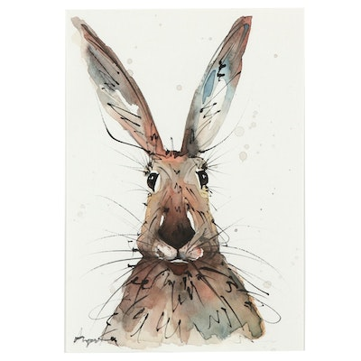 Angor Hare Portrait Watercolor Painting