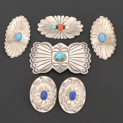 Southwestern Style Sterling Silver Gemstone Brooches and Earrings