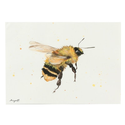 Angor Bumble Bee Watercolor Painting