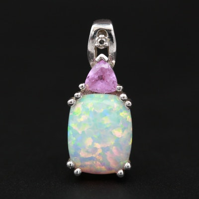 14k White Gold Diamond, Synthetic Pink Sapphire and Synthetic Opal Pendant