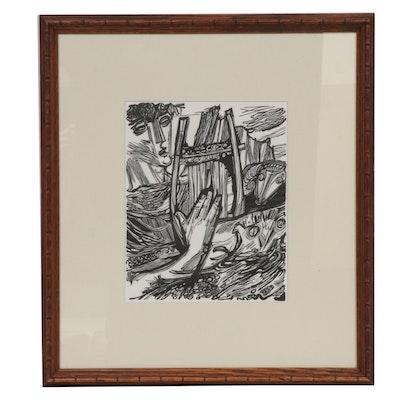 Hans Orlowski Woodcut of Orpheus