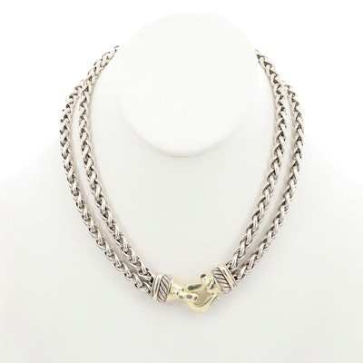 Vintage David Yurman Sterling Silver and 14K Yellow Gold Garnet Buckle Necklace