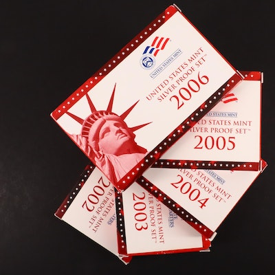 Five U.S. Mint Silver Proof Sets Including 2002-2006