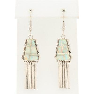 Southwestern Style Sterling Silver Opal Earrings