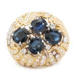 18K 8.00 CTW Unheated Sapphire and 4.69 CTW Diamond Bombé Ring with GIA Report
