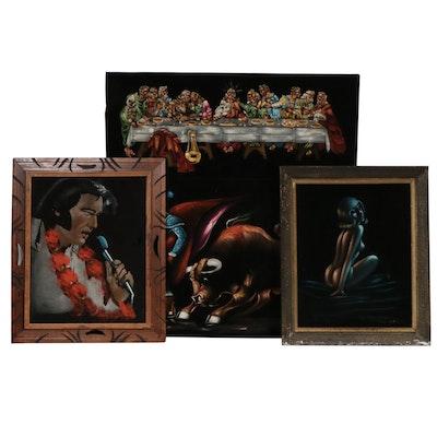 Mid 20th Century Oil Paintings on Velvet