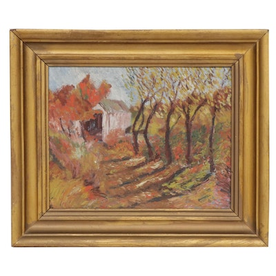 Impressionist Style Landscape with Barn Oil Painting, Mid-20th Century