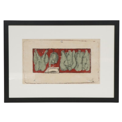 Jim Dine Untitled Abstract Lithograph, 1956