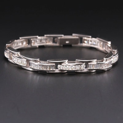 14K White Gold 5.80 CTW Diamond Bracelet