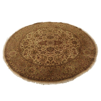 Hand Knotted Indian Chobi Wool Round Area Rug