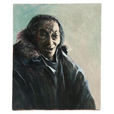"""Gabriel Gely Portrait Oil Painting of Inuit Man """"Atauserlik"""""""