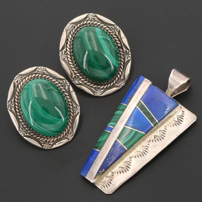 Wayne Muskett Navajo Diné Lapis Lazuli and Malachite Pendant With Earrings