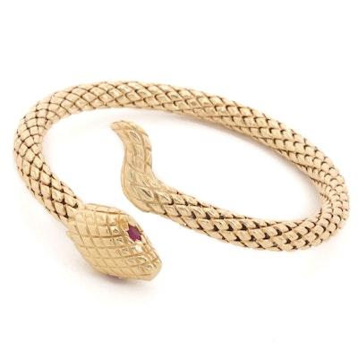 14K Yellow Gold Ruby Eyed Snake Bracelet