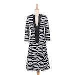 Valentino Black and White Zebra Knit Skirt Suit