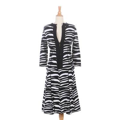 Valentino Black and White Zebra Knit Skirt Suit