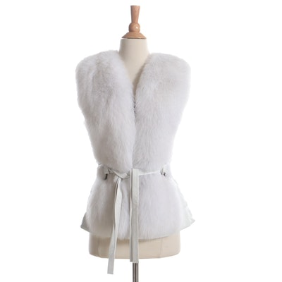 White Leather Vest with Tie Belt and Fox Fur