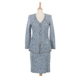 St. John Evening by Marie Gray Embellished Light Blue Leopard Knit Skirt Suit