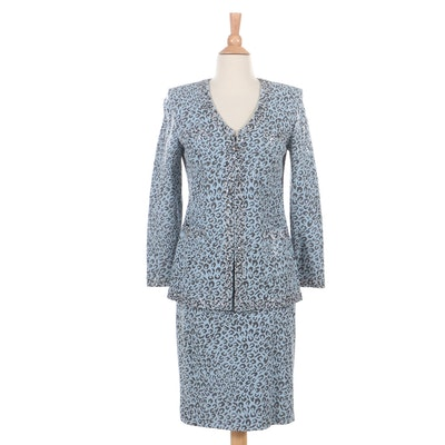 St. John Evening by Marie Gray Embellished Light Blue Leopard Knit Skirt Suit