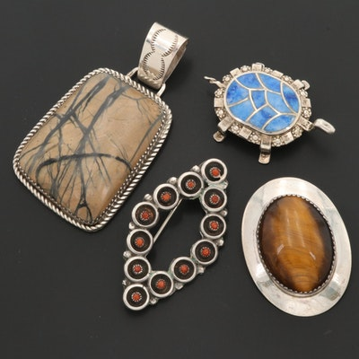 Southwestern Style Sterling Silver Coral and Gemstone Brooches Including Zuni