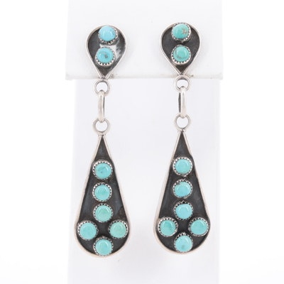 Southwestern Sterling Silver Turquoise Petit Point Earrings