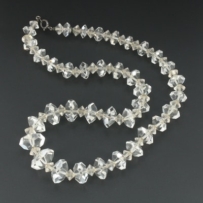 Sterling Silver Rock Quartz Crystal Necklace
