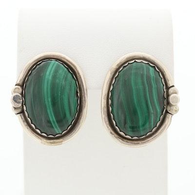 Southwestern Style Sterling Silver Malachite Earrings
