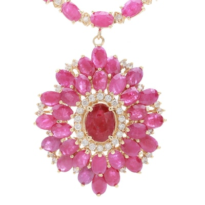 14K Yellow Gold Ruby and 2.25 CTW Diamond Necklace