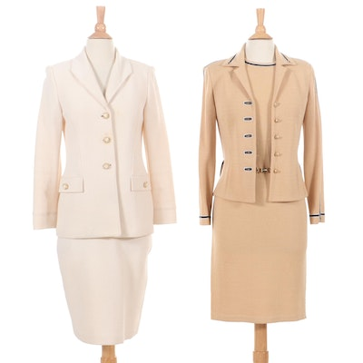 St. John Collection Cream Knit Skirt Suit and Tan Dress Suit