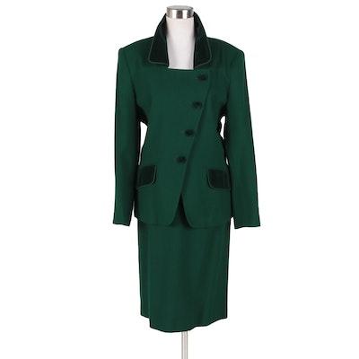 Albert Nipon Suits Kelly Green Velvet Trimmed Skirt Suit