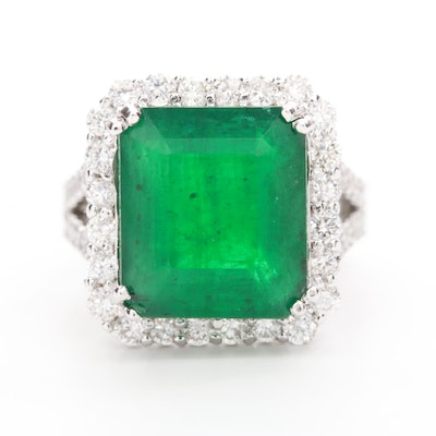 14K White Gold 8.26 CT Emerald and 1.66 CTW Diamond Ring