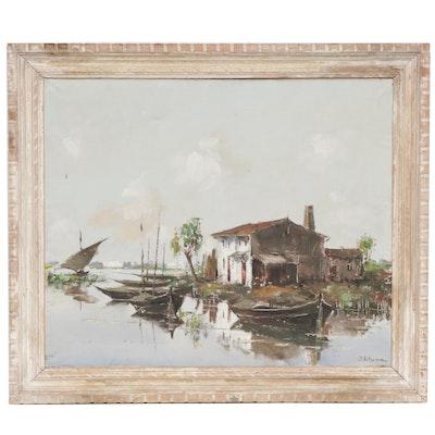 Juan Lluna Lerma Harbor Scene Oil Painting
